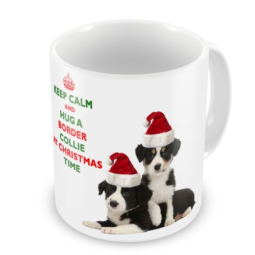 Christmas Keep Calm And Hug A Border Collie Novelty Gift Mug